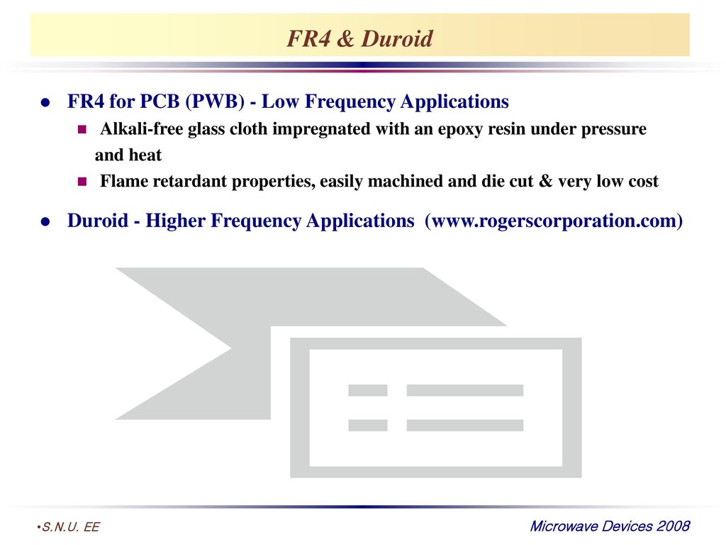 FR4 & Duroid FR4 for PCB (PWB) - Low Frequency Applications