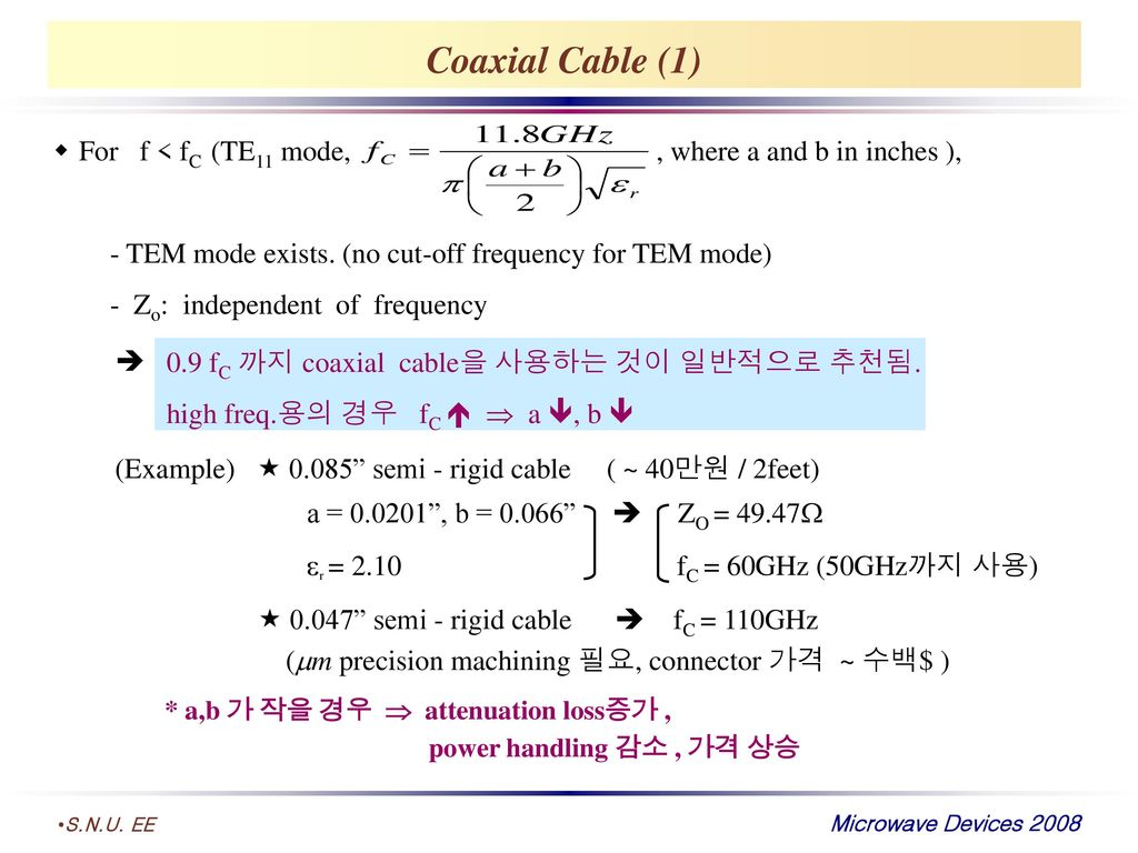 Coaxial Cable (1) For f < fC (TE11 mode, , where a and b in inches ),