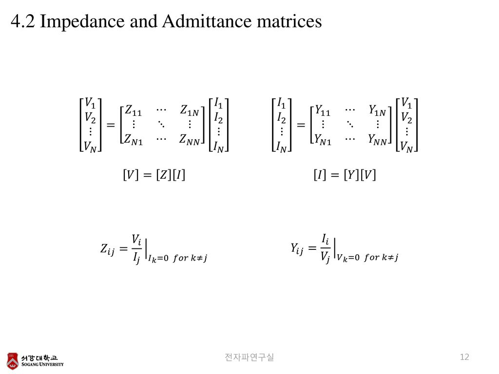 4.2 Impedance and Admittance matrices