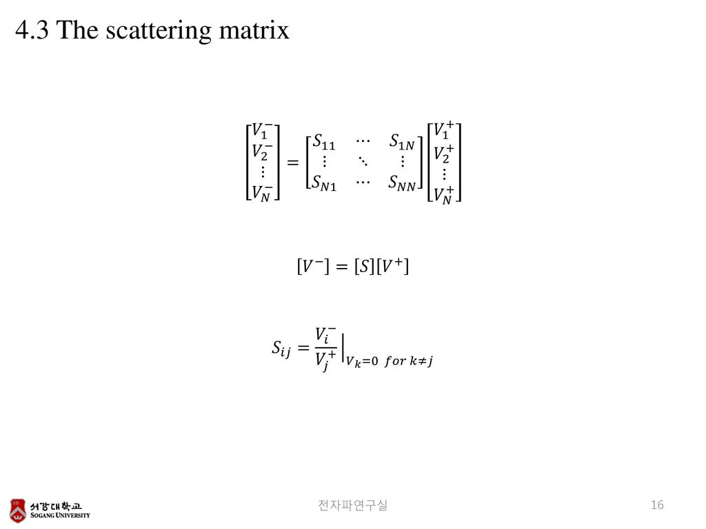 4.3 The scattering matrix 𝑉 1 − 𝑉 2 − ⋮ 𝑉 𝑁 − = 𝑆 11 ⋯ 𝑆 1𝑁 ⋮ ⋱ ⋮ 𝑆 𝑁1 ⋯ 𝑆 𝑁𝑁 𝑉 1 + 𝑉 2 + ⋮ 𝑉 𝑁 +