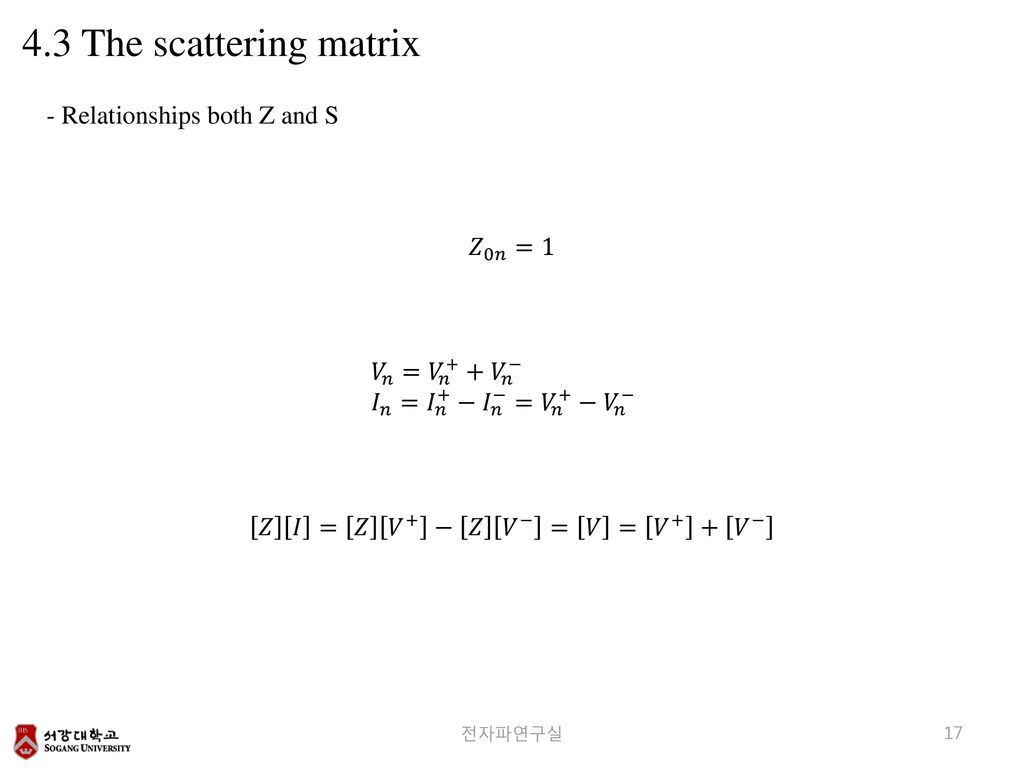 4.3 The scattering matrix - Relationships both Z and S 𝑍 0𝑛 =1