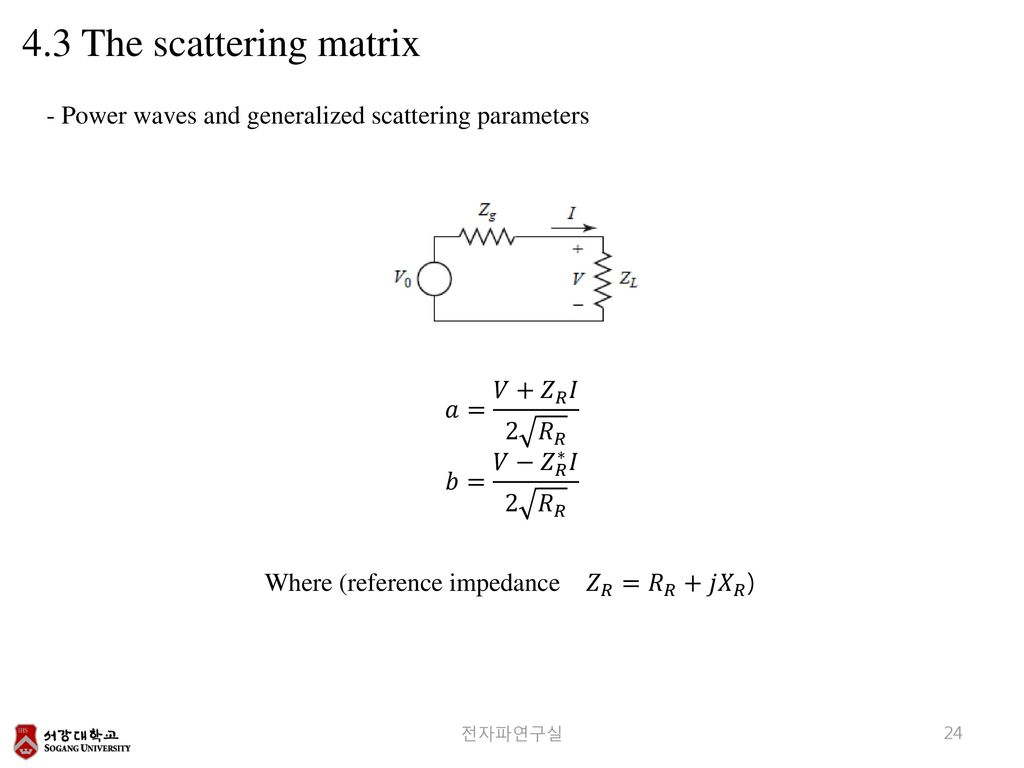 4.3 The scattering matrix - Power waves and generalized scattering parameters. 𝑎= 𝑉+ 𝑍 𝑅 𝐼 2 𝑅 𝑅.
