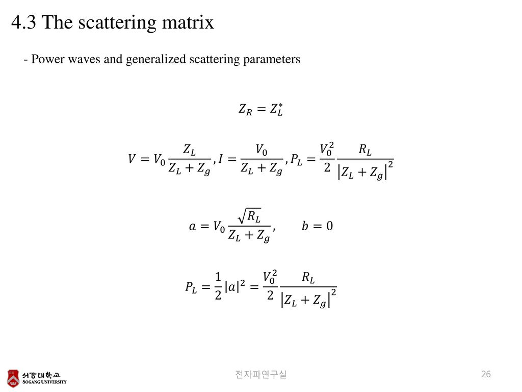 4.3 The scattering matrix - Power waves and generalized scattering parameters. 𝑍 𝑅 = 𝑍 𝐿 ∗
