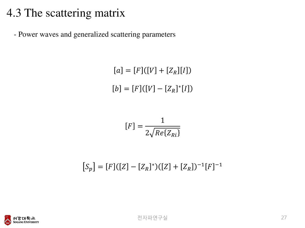 4.3 The scattering matrix - Power waves and generalized scattering parameters. 𝑎 = 𝐹 𝑉 + 𝑍 𝑅 𝐼.