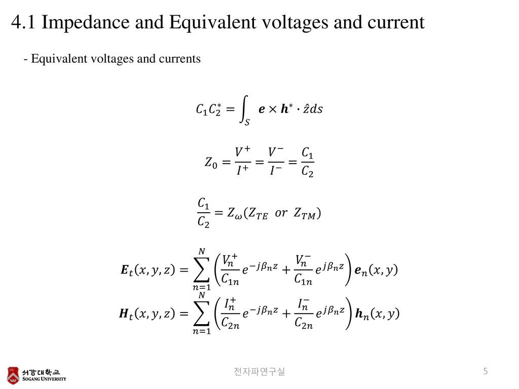 4.1 Impedance and Equivalent voltages and current