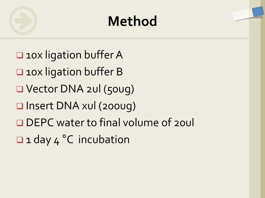 Method 10x ligation buffer A 10x ligation buffer B