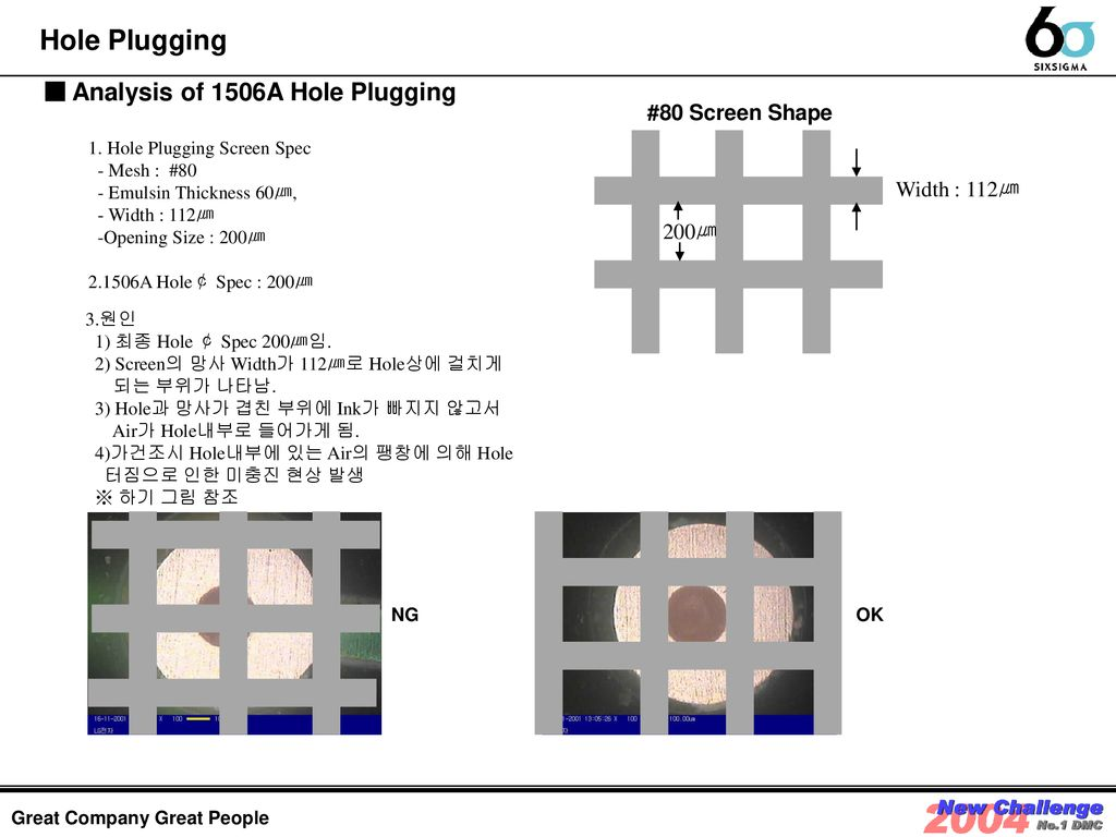 Hole Plugging ■ Analysis of 1506A Hole Plugging #80 Screen Shape