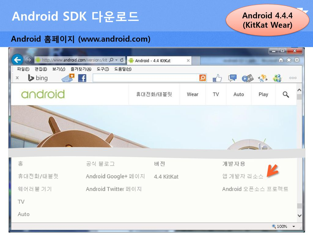 Android SDK 다운로드 Android (KitKat Wear)