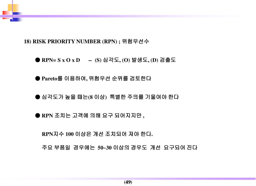 18) RISK PRIORITY NUMBER (RPN) ; 위험우선수