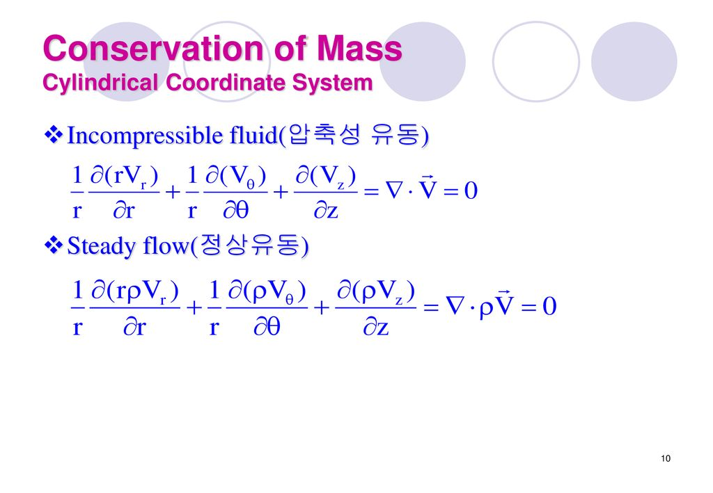Conservation of Mass Cylindrical Coordinate System