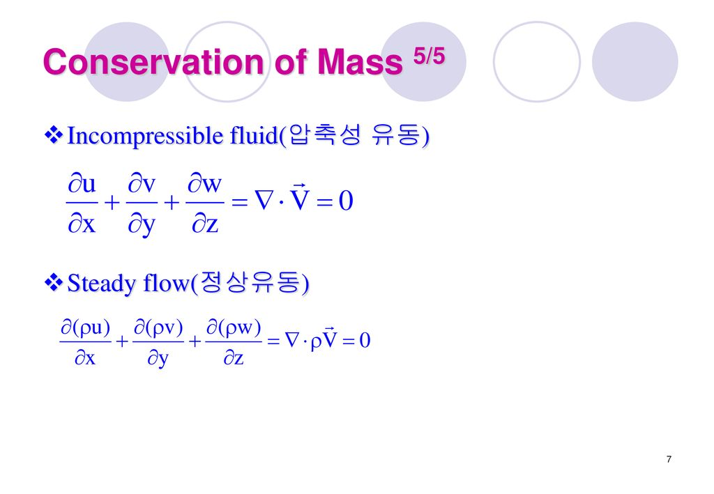 Conservation of Mass 5/5 Incompressible fluid(압축성 유동)