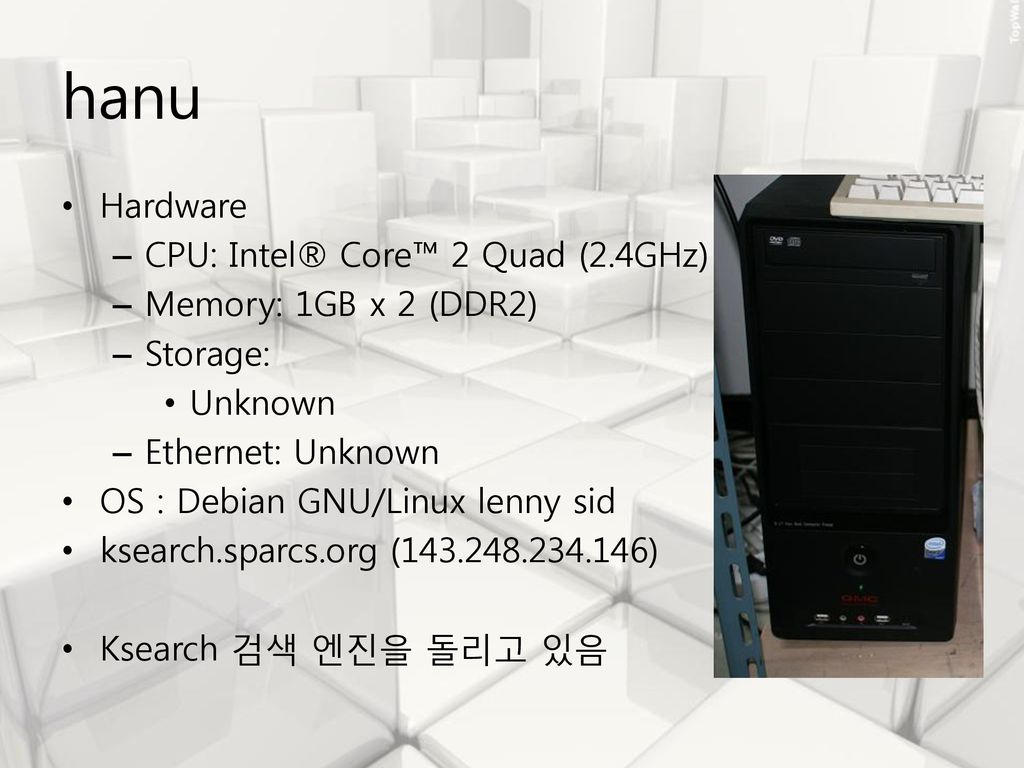 hanu Hardware CPU: Intel® Core™ 2 Quad (2.4GHz) Memory: 1GB x 2 (DDR2)