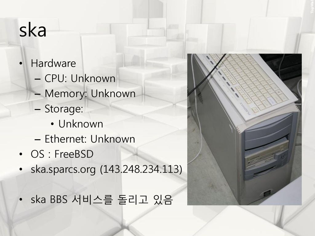 ska Hardware CPU: Unknown Memory: Unknown Storage: Unknown