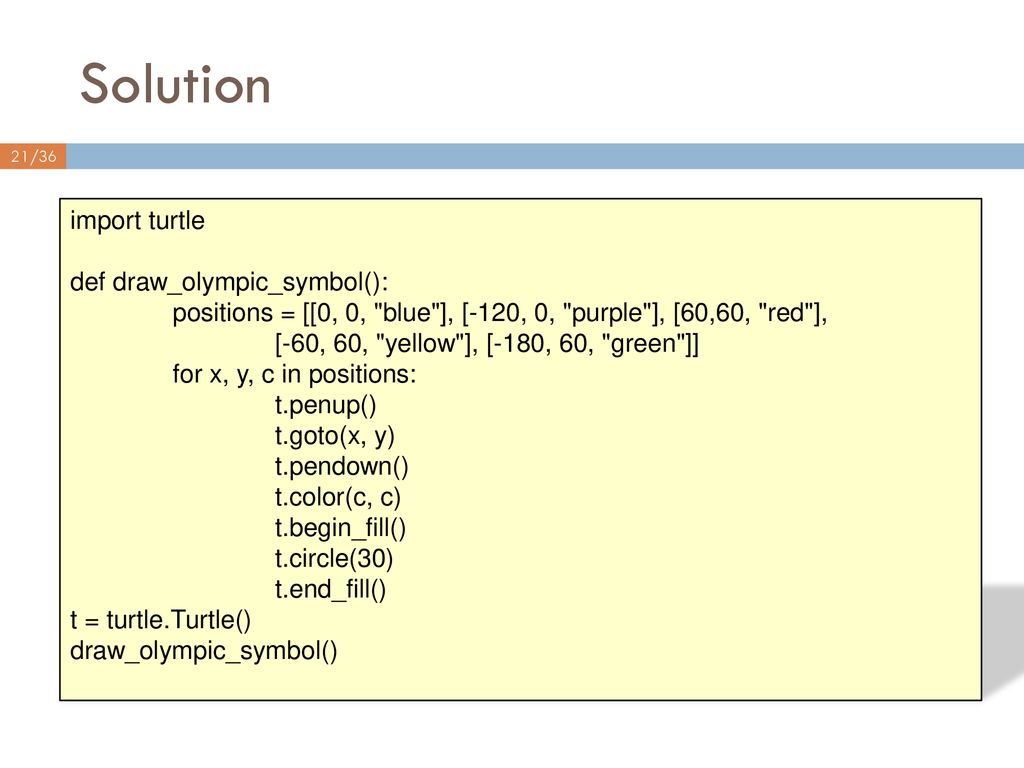 Solution import turtle def draw_olympic_symbol():