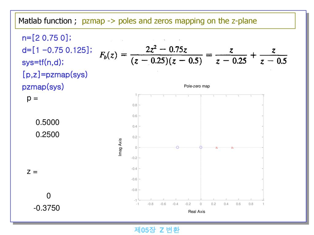 Matlab function ; pzmap -> poles and zeros mapping on the z-plane