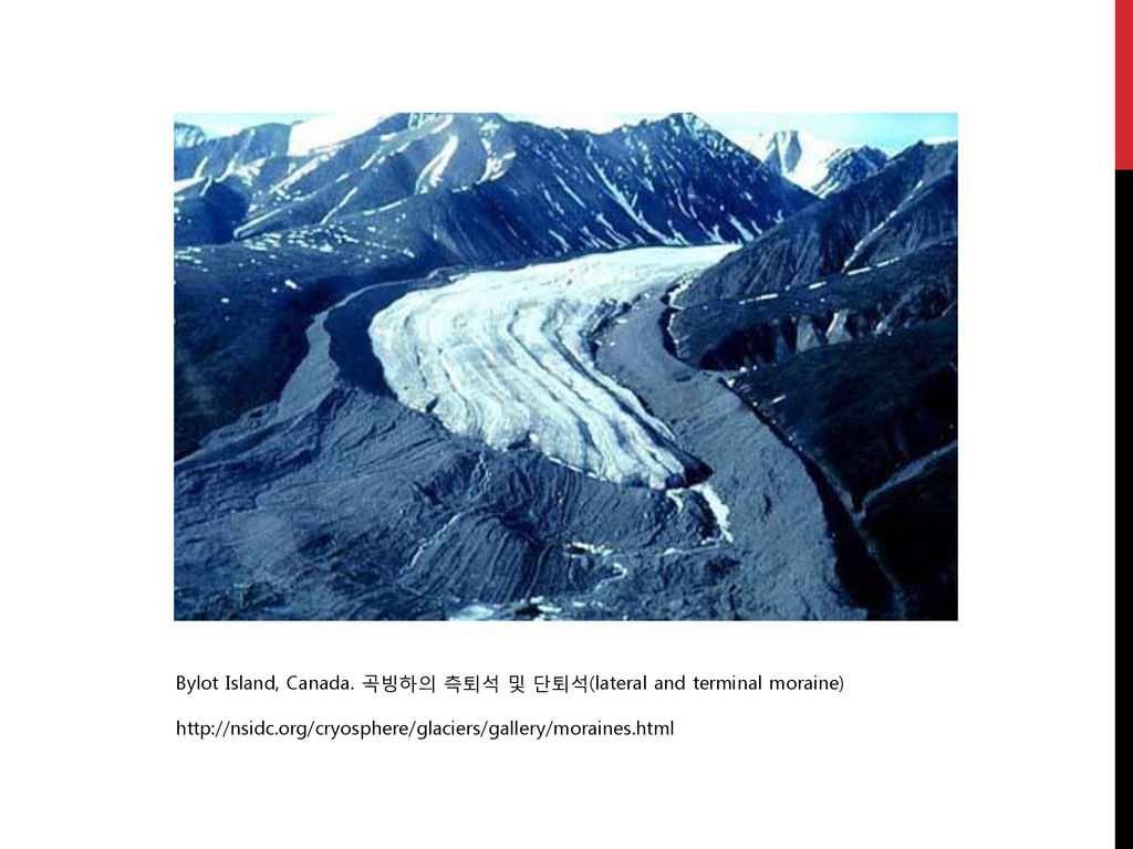 Bylot Island, Canada. 곡빙하의 측퇴석 및 단퇴석(lateral and terminal moraine)