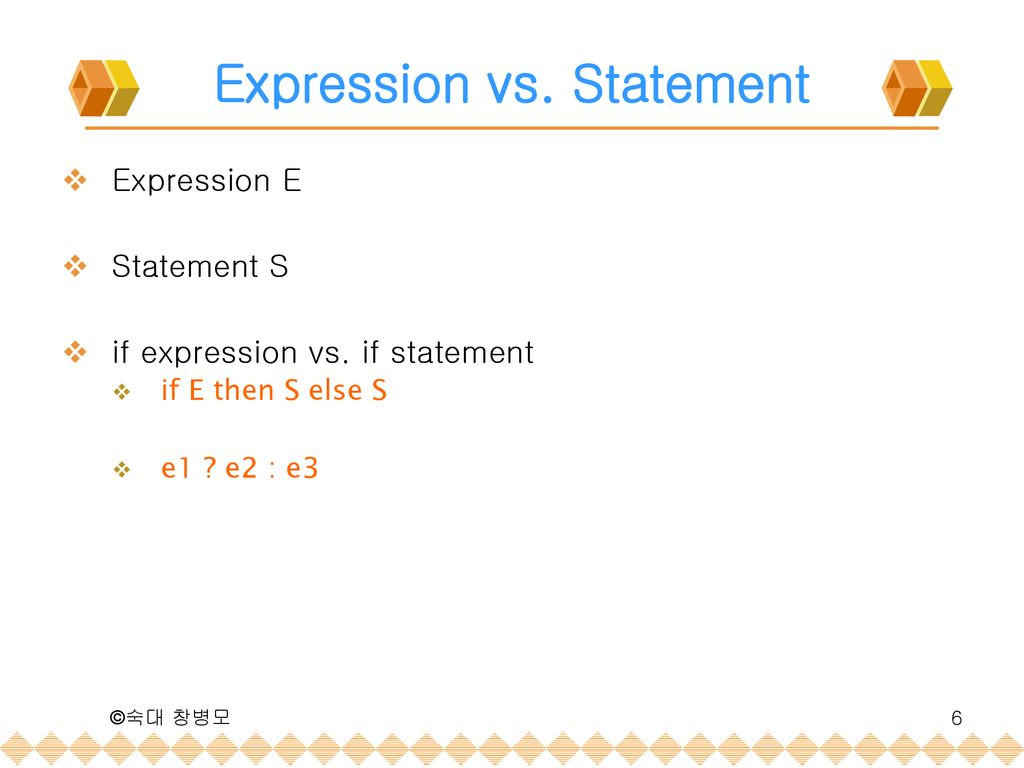 Expression vs. Statement