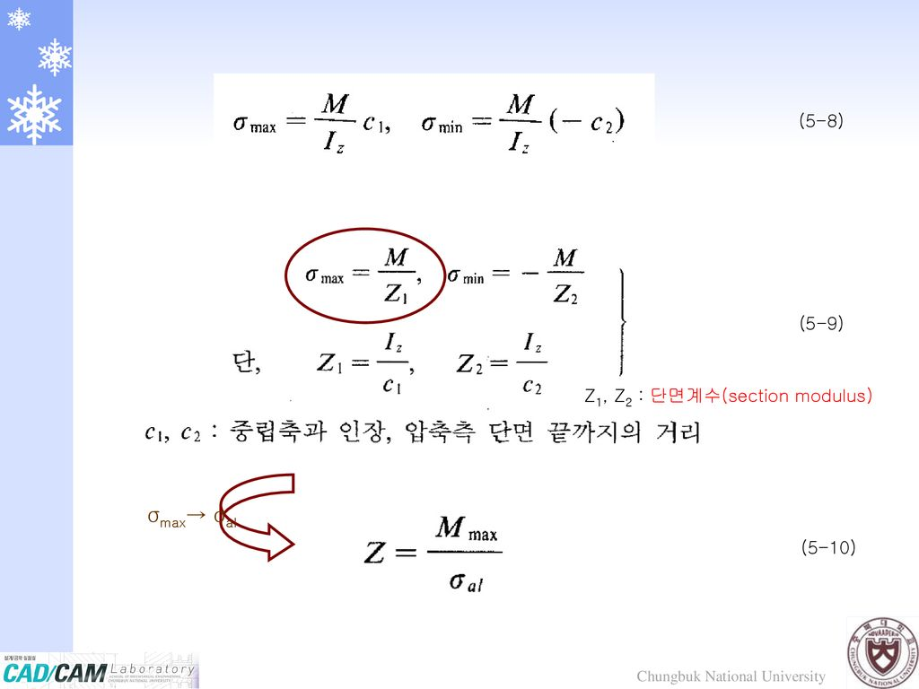 Z1, Z2 : 단면계수(section modulus)