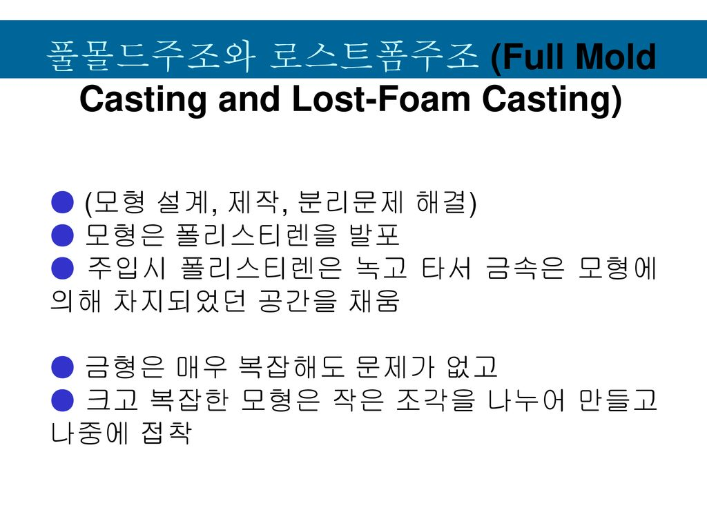 풀몰드주조와 로스트폼주조 (Full Mold Casting and Lost-Foam Casting)