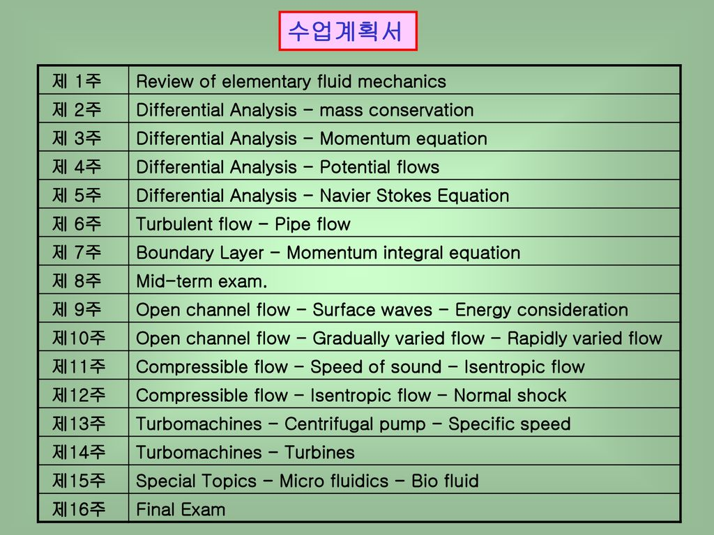수업계획서 제 1주 Review of elementary fluid mechanics 제 2주