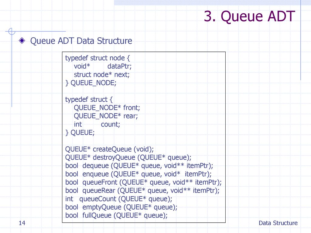 3. Queue ADT Queue ADT Data Structure typedef struct node {
