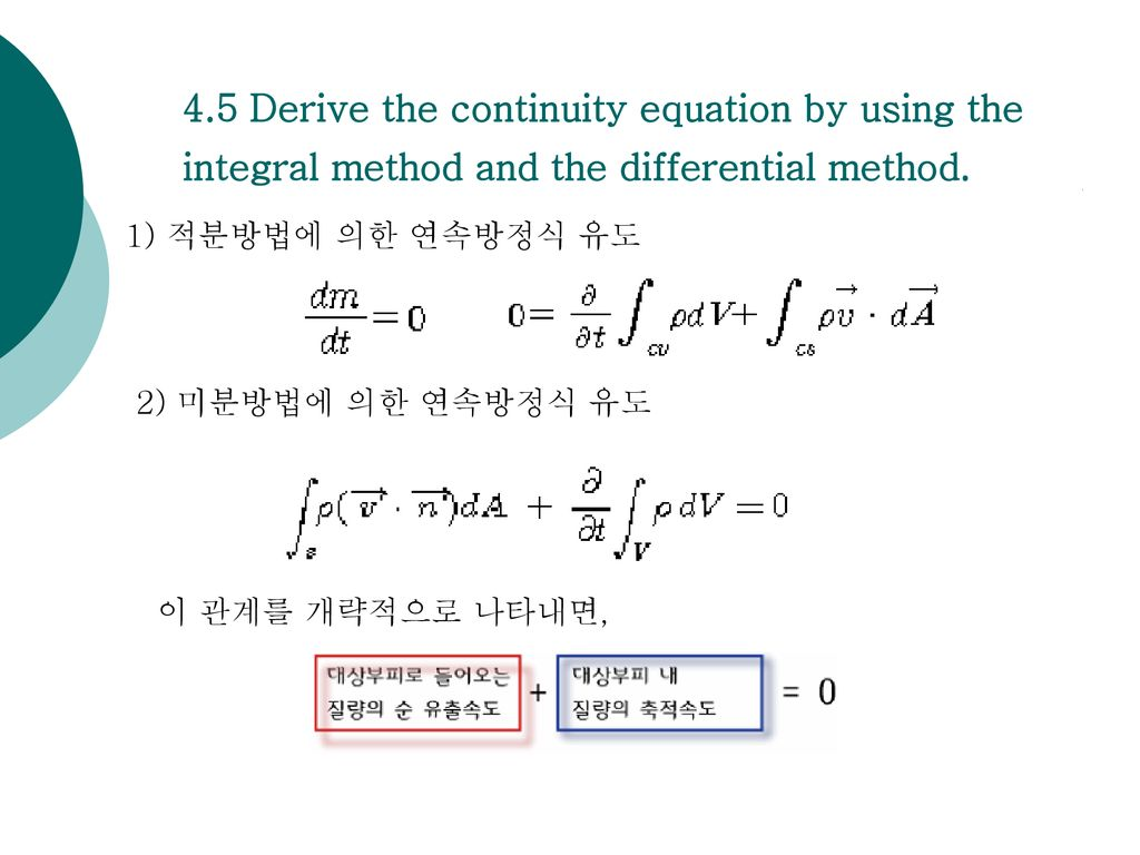 4.5 Derive the continuity equation by using the integral method and the differential method.