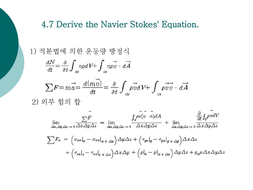 4.7 Derive the Navier Stokes Equation.
