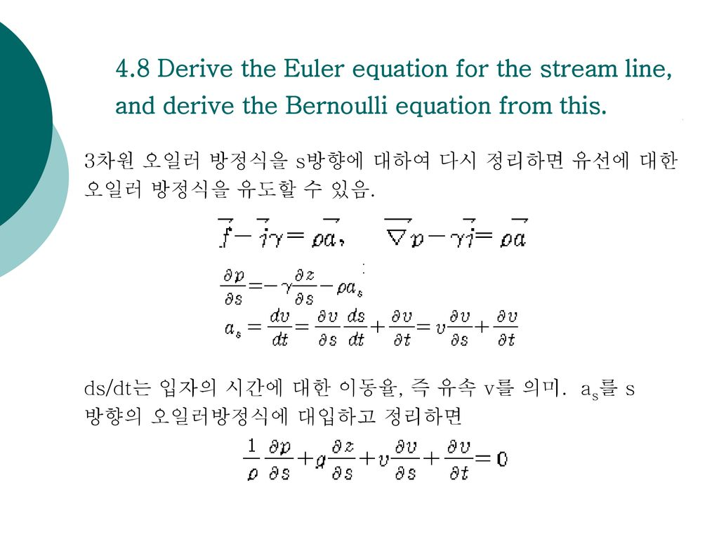 4.8 Derive the Euler equation for the stream line, and derive the Bernoulli equation from this.