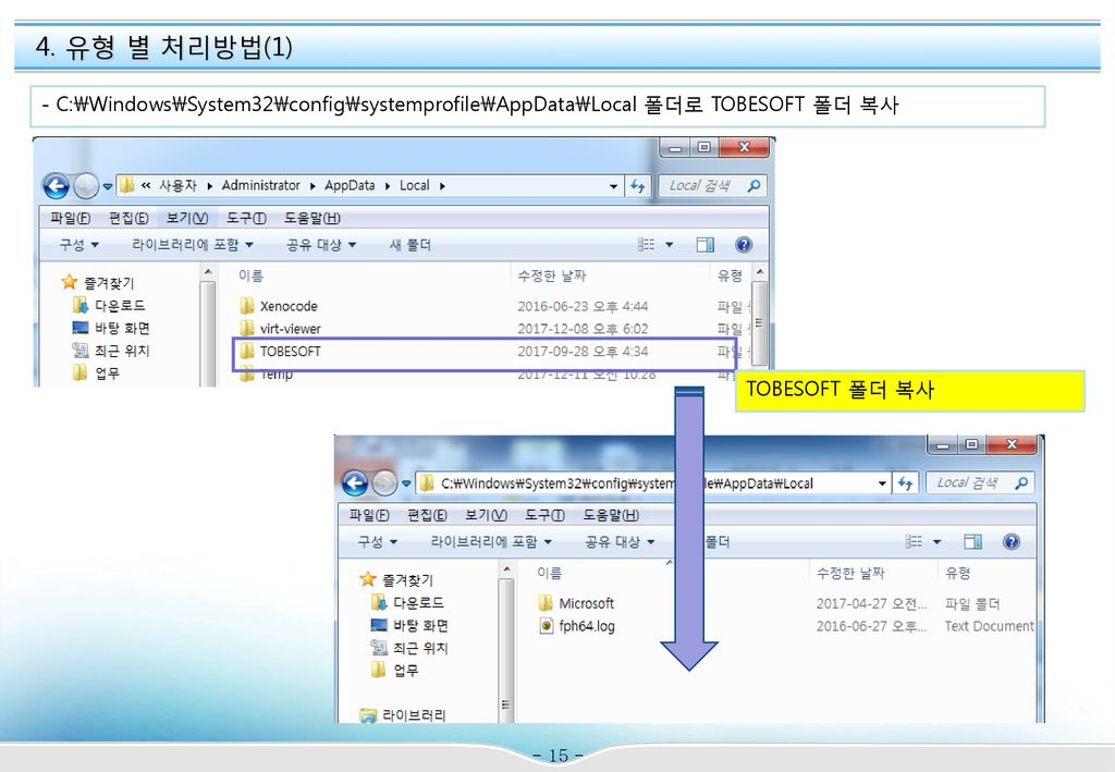 4. 유형 별 처리방법(1) - C:\Windows\System32\config\systemprofile\AppData\Local 폴더로 TOBESOFT 폴더 복사.