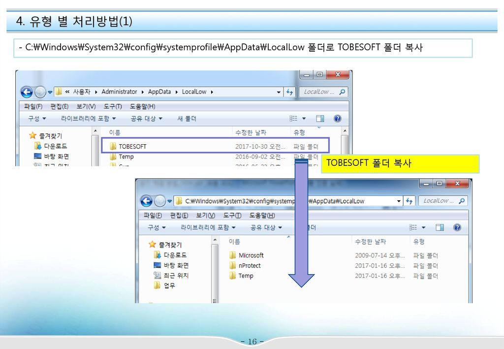 4. 유형 별 처리방법(1) - C:\Windows\System32\config\systemprofile\AppData\LocalLow 폴더로 TOBESOFT 폴더 복사.