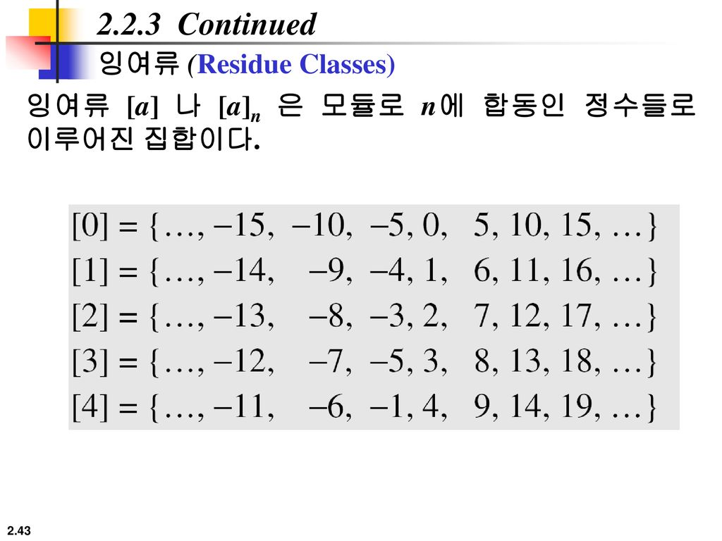 2.2.3 Continued 잉여류 (Residue Classes)