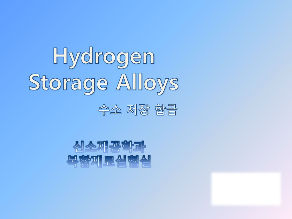 Hydrogen Storage Alloys