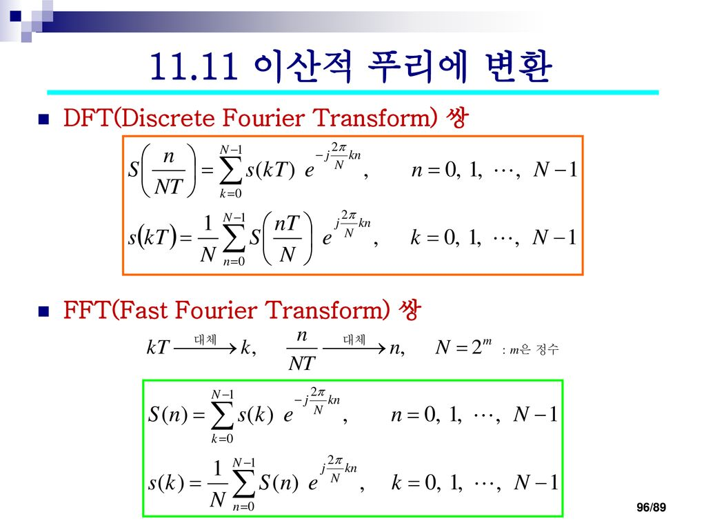 11.11 이산적 푸리에 변환 DFT(Discrete Fourier Transform) 쌍