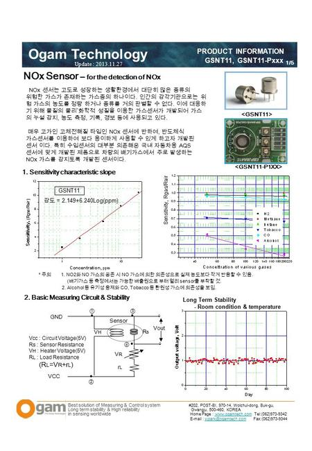 Best solution of Measuring & Control system Long term stability & High reliability in sensing worldwide Ogam Technology PRODUCT INFORMATION GSNT11, GSNT11-Pxxx.