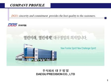 COMPANY PROFILE DGS's sincerity and commitment provides the best quality to the customers. 1 주식회사 대 구 정 밀 DAEGU PRECISION CO., LTD.