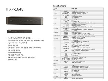 IHXP-1648 Specifications Plug & Display (ITX카메라 자동 연결)