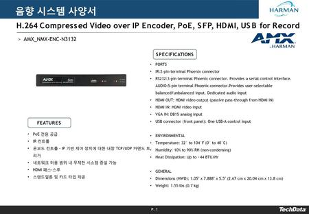 음향 시스템 사양서 H.264 Compressed Video over IP Encoder, PoE, SFP, HDMI, USB for Record AMX_NMX-ENC-N3132 SPECIFICATIONS PORTS IR:2-pin terminal Phoenix connector.