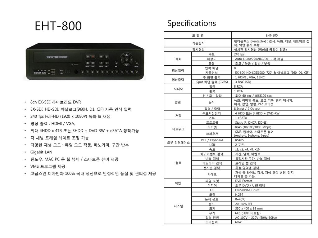 EHT-800 Specifications 8ch EX-SDI 하이브리드 DVR