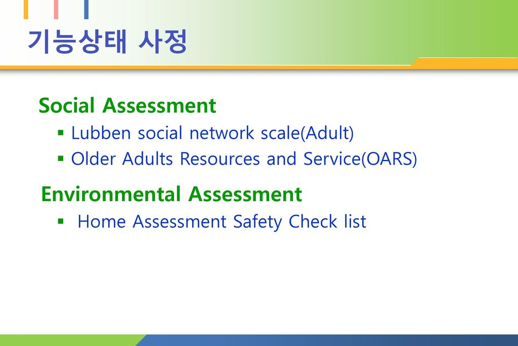 기능상태 사정 Environmental Assessment Social Assessment