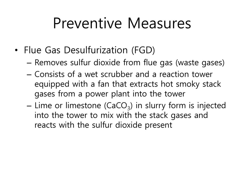 Preventive Measures Flue Gas Desulfurization (FGD)