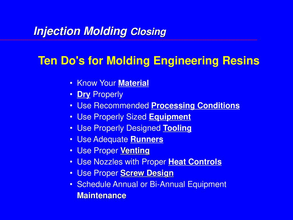 Injection Molding Closing