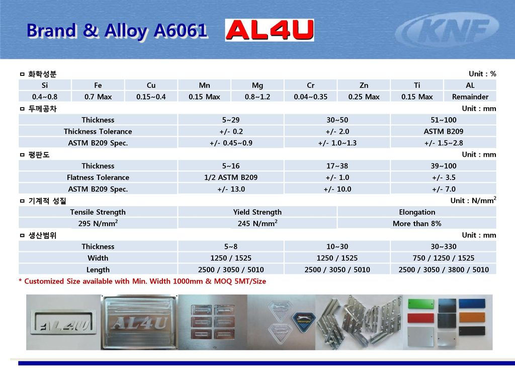 Brand & Alloy A6061 ㅁ 화학성분 Unit : % Si Fe Cu Mn Mg Cr Zn Ti AL 0.4~0.8