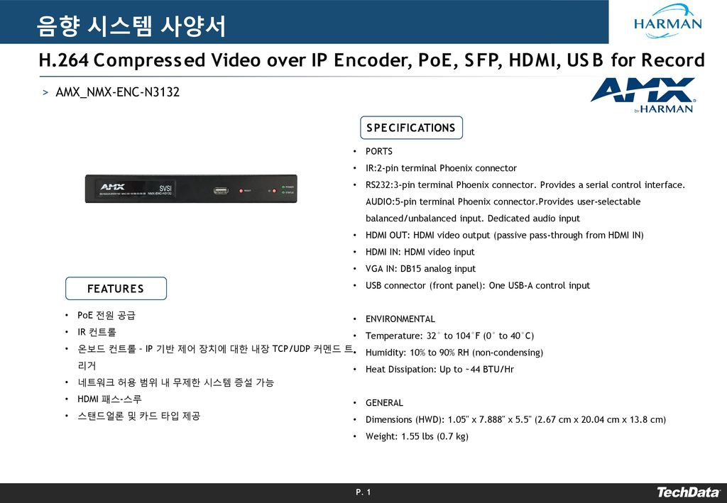 음향 시스템 사양서 H.264 Compressed Video over IP Encoder, PoE, SFP, HDMI, USB for Record. AMX_NMX-ENC-N3132.