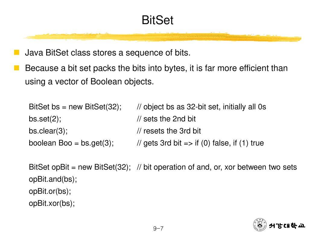 Data Structure Vector BitSet Linked List Sorting Algorithms