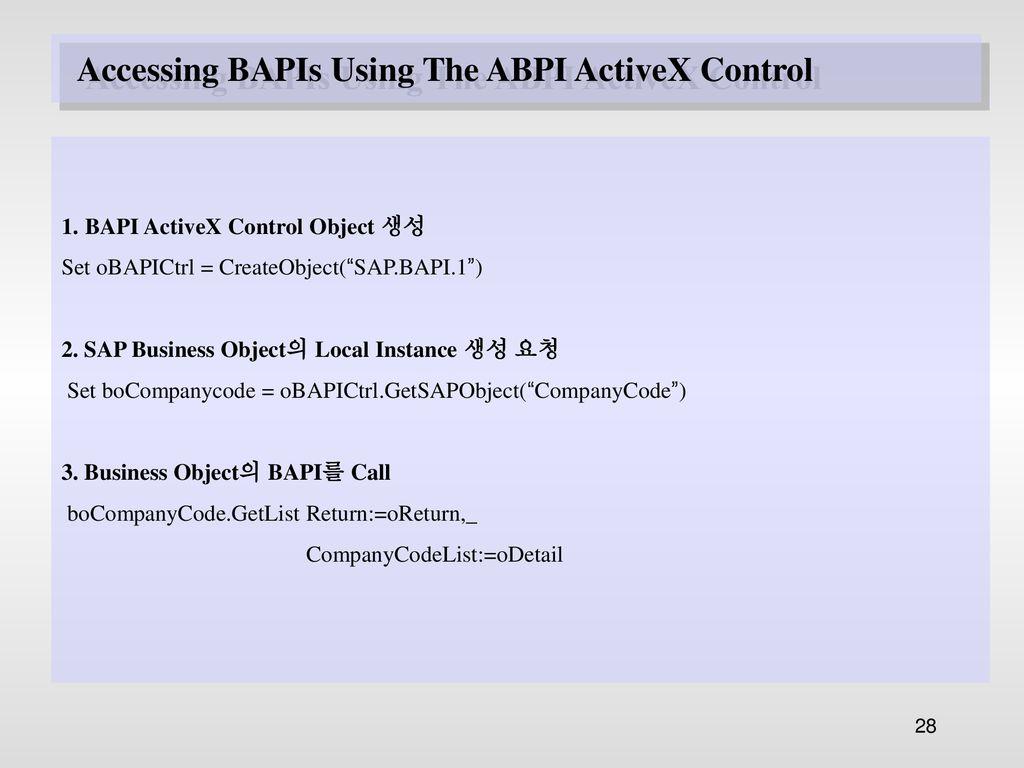 BAPI( Business Application Programming Interface ) - ppt