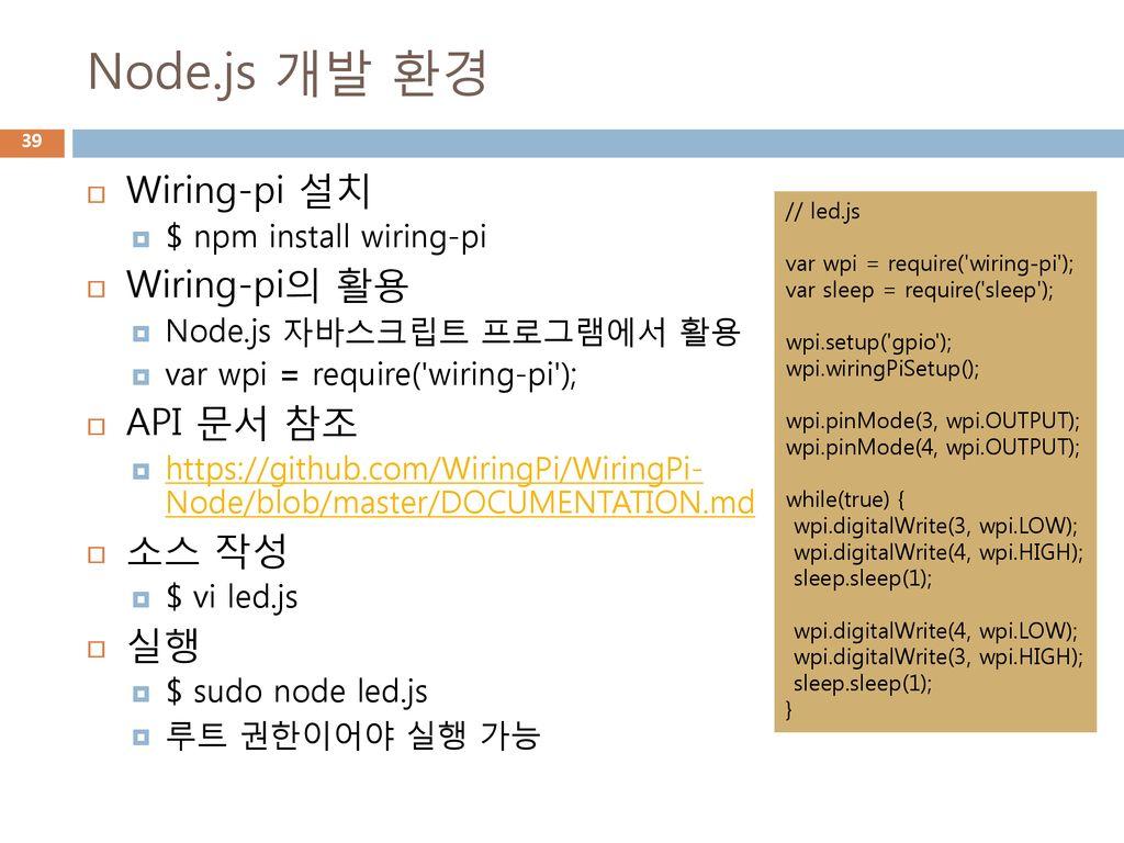 Iot 2016 2 Ppt Download Wiringpi2 Github 39 Nodejs