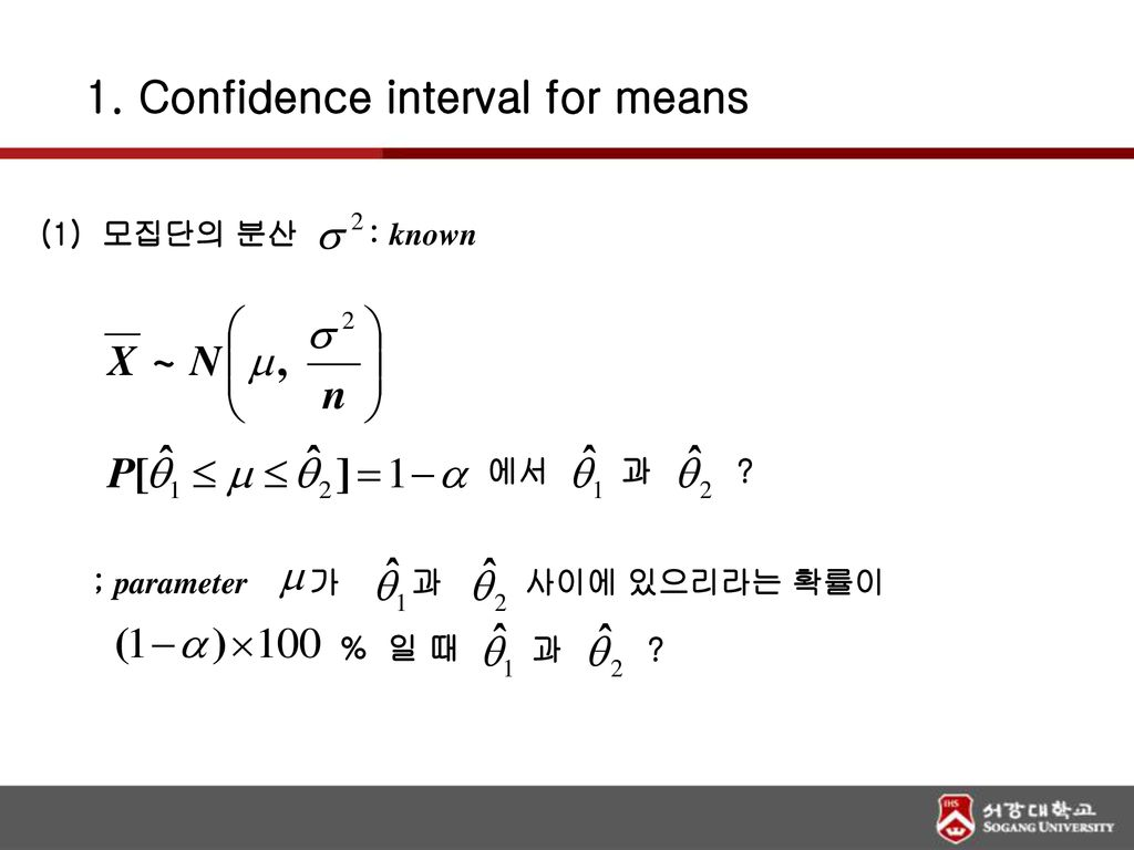 1. Confidence interval for means