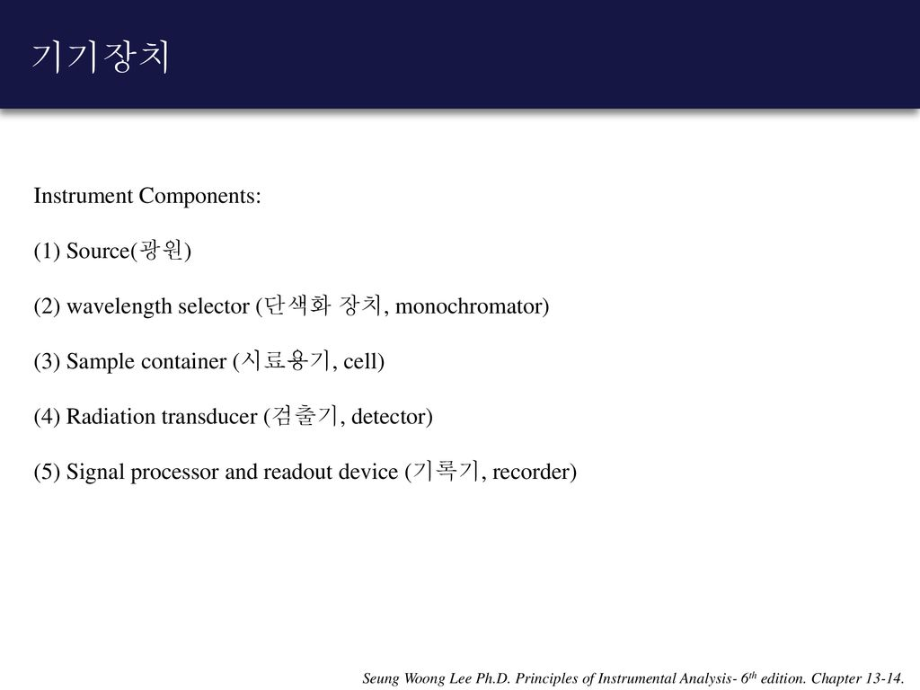 기기장치 Instrument Components: (1) Source(광원)