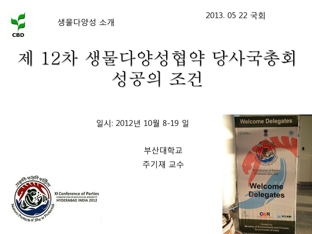 제 12차 생물다양성협약 당사국총회 성공의 조건 국회 생물