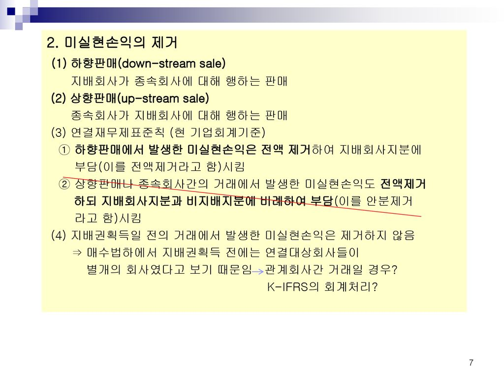 (1) 하향판매(down-stream sale)